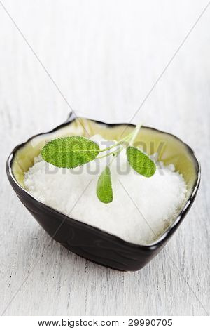 sea salt with leaf sage