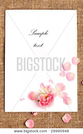 Decorative background with the blank and rose