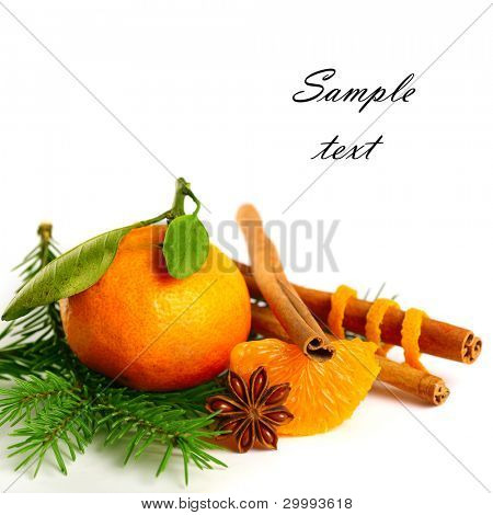 tangerine, cinnamon, anise and tree branch isolated on white background(With sample text)