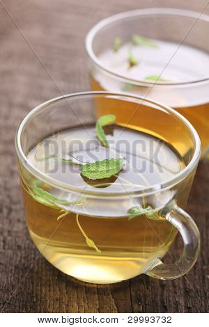 Herbal tea with fresh sage leaf