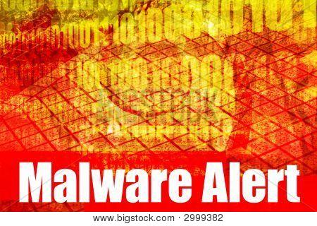 Mensaje de sistema de alerta de malware