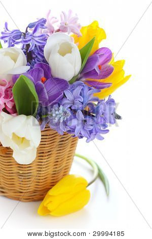 Bouquet of spring flowers in basket isolated on white background