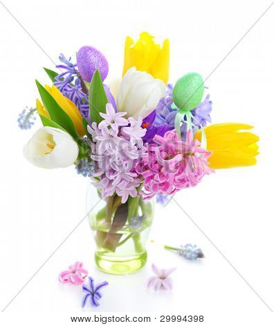 bouquet spring flowers  isolated on white background(crocus, hyacinth, tulip)