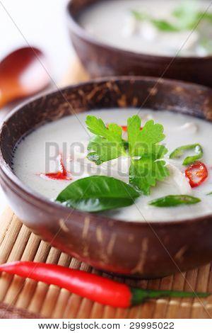 Thai chicken and coconut milk soup- Tom Ka Gai