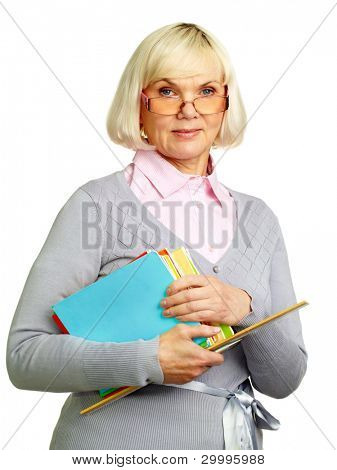 Female teacher being ready for a lesson or a lecture isolated on white background