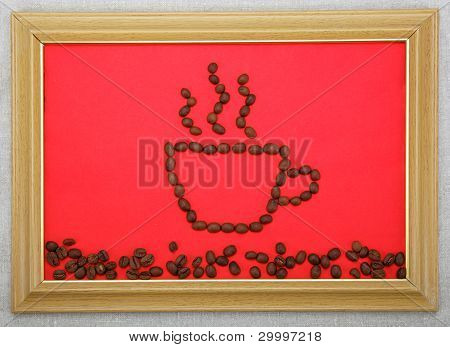 Picture A Cup Of Coffee Beans In A Frame On A Red Background On The Linen.