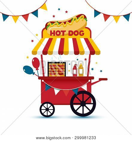 poster of Fast Food Hot Dog Cart And Street Hot Dog Cart. Hot Dog Cart Street Food Market, Hot Dog Cart Stand