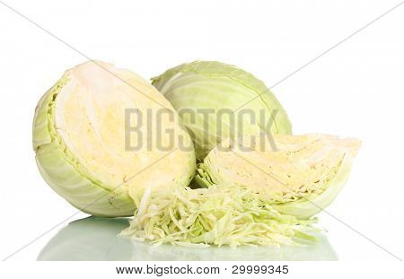 sliced green cabbage isolated on white