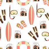 Seamless Pattern With Colorful Elements Of Beach Rest And Activity Vector Illustration, Snorkeling M poster