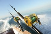 stock photo of troll  - big game fishing reels and rods reels and rods - JPG