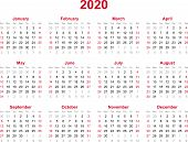 2020 Yearly Calendar - 12 Months Yearly Calendar Set In 2020 - Set Of Calendar Year 2020 - Calendar  poster