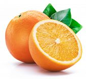 Orange fruit with orange slices and leaves isolated on white background. poster