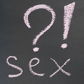 Inscription Question Sex Sign Question Exclamation Banner. Chalk Inscription White Black Stem Inscri poster