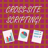 Conceptual Hand Writing Showing Cross Site Scripting. Business Photo Showcasing Security Vulnerabili poster
