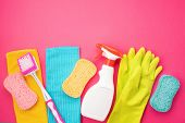 Detergents And Cleaning Accessories In Pastel Color. Cleaning Service, Small Business Idea, Spring C poster