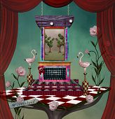 Surreal Stage Inspired By Alice In Wonderland Fairytale - 3d Illustration poster