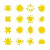 Set Of Sun Vector Isolated On White Background. Sun Collection Logo Icon Vector. Sun Star Collection poster