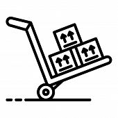 Trolley With Goods Icon. Outline Trolley With Goods Vector Icon For Web Design Isolated On White Bac poster