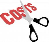 pic of reduce  - Pair of scissors cuts business expense word COSTS in half to save money - JPG