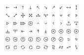Arrows Big Black Set Icons In Line Style. Arrow Icon. Arrow Vector Collection. Arrow. Cursor. Modern poster