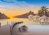 Bungalows Are Located On An Ocean Coast Of A Tropical Island. A Seagull Is Sitting On A Pier. A Boat poster