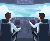 Airplane Cockpit. Pilots Sitting Front Of Dashboard Aircraft Inside Vector Cartoon Illustrations. Ca poster