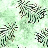 Tropical Seamless Pattern. Watercolor Scattered Palm Leaves, Japanese Bamboo. Green Exotic Swimwear  poster