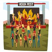 Rock Fest, Open Air Concert, Rock Band Performing On Stage, People Dancing And Having Fun Outdoor Ne poster
