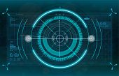 Modern Aiming System. Sci-fi Futuristic Spaceship Crosshair. Outline Hud User Interface. Fullcolor I poster