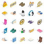 Advertising Campaign Icons Set. Isometric Set Of 25 Advertising Campaign Icons For Web Isolated On W poster