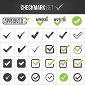 Checkmark Or Tick Mark Collection Set. Acceptance, Approval, Right Choice, Correct Selection, True O poster