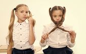 Small Girls With Tail Hairdo. Children Need New Hairdo In Hair Salon. Small Girls Back To School. poster
