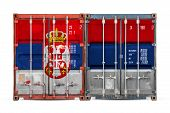 The Concept Of Serbia  Export-import And National Delivery Of Goods. Close-up Of The Container With  poster