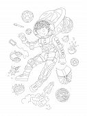Cute Hand Draw Coloring Page With Brave Astronaut, Cosmonaut Girl - Cute Girl Floating In Space With poster