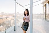 Big City Life, Sunny Morning Of Young Joyful Woman Smiling To Camera On Terrace In Penthouse On City poster