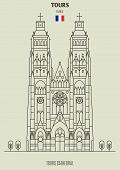 Tours Cathedral In Tours, France. Landmark Icon In Linear Style poster