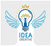 Idea Light Bulb With Wings Launching Like A Rocket Vector Linear Logo Or Icon, Creative Idea Startup poster
