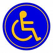 Disabled Signs Blue Colors Frame Background, Sign Boards For Disability Slope Path Ladder Way Sign B poster