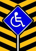 Disabled Signs Blue Colors On Black And Yellow Stripes Frame Background, Sign Boards Of Disability S poster