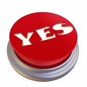 Red Button Labeled With Word Yes. Round Red Button With The Word Yes Isolated On White Background. 3 poster