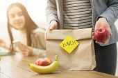 Mother Packing Healthy School Lunch For Daughter, Closeup poster