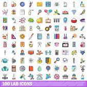 100 Lab Icons Set. Cartoon Illustration Of 100 Lab Icons Isolated On White Background poster