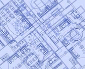 Architectural Background With Technical Drawings. Blueprints Plan Texture. Drawing Part Of Architect poster