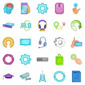 Info Exchange Icons Set. Cartoon Set Of 25 Info Exchange Icons For Web Isolated On White Background poster