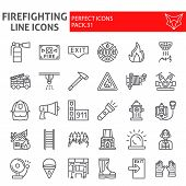 Firefighter Line Icon Set, Fireman Symbols Collection, Vector Sketches, Logo Illustrations, Fire Saf poster