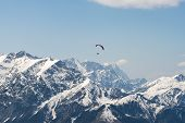 Paragliding Over Alps In Nature. Paragliding In Nature. Travel Outdoor Paragliding In Nature. Nature poster