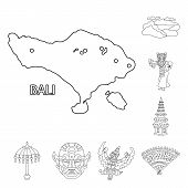 Isolated Object Of Balinese And Caribbean Sign. Set Of Balinese And Geography Stock Symbol For Web. poster