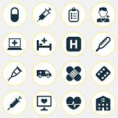 Medicine Icons Set With Stings, Bed, Crutch And Other Ache Elements. Isolated  Illustration Medicine poster