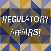 Text Sign Showing Regulatory Affairs. Conceptual Photo The Desire Of Governments To Protect Public H poster