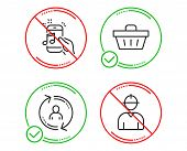 Do Or Stop. User Info, Music Phone And Shopping Basket Icons Simple Set. Engineer Sign. Update Profi poster